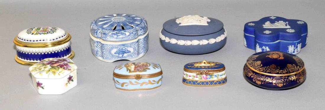 (8) ASSORTED BOXES - (2) Wedgwood boxes, 4'' and 3.75'';