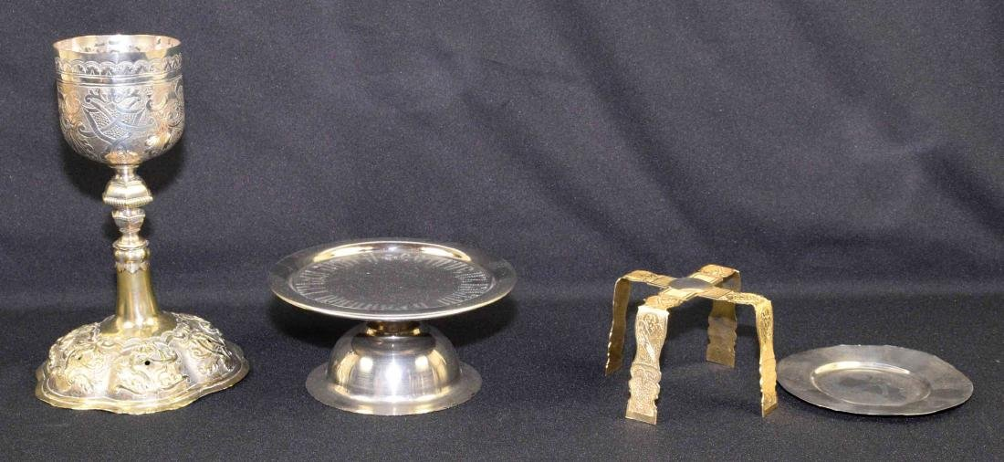 19TH C. RUSSIAN CHALICE AND PATEN. 9.50''H x 6''W.