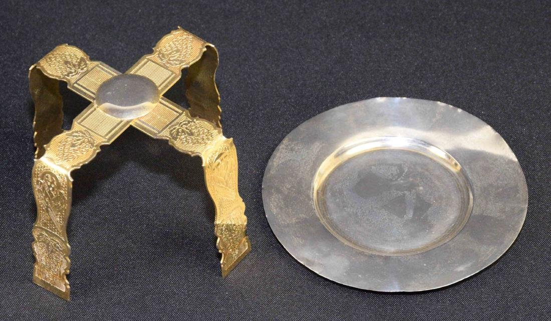19TH C. RUSSIAN CHALICE AND PATEN. 9.50''H x 6''W. - 5