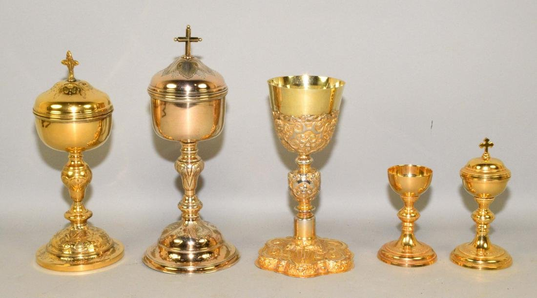 GROUP OF (5) ROMAN CATHOLIC GOLD PLATED CHALICES.
