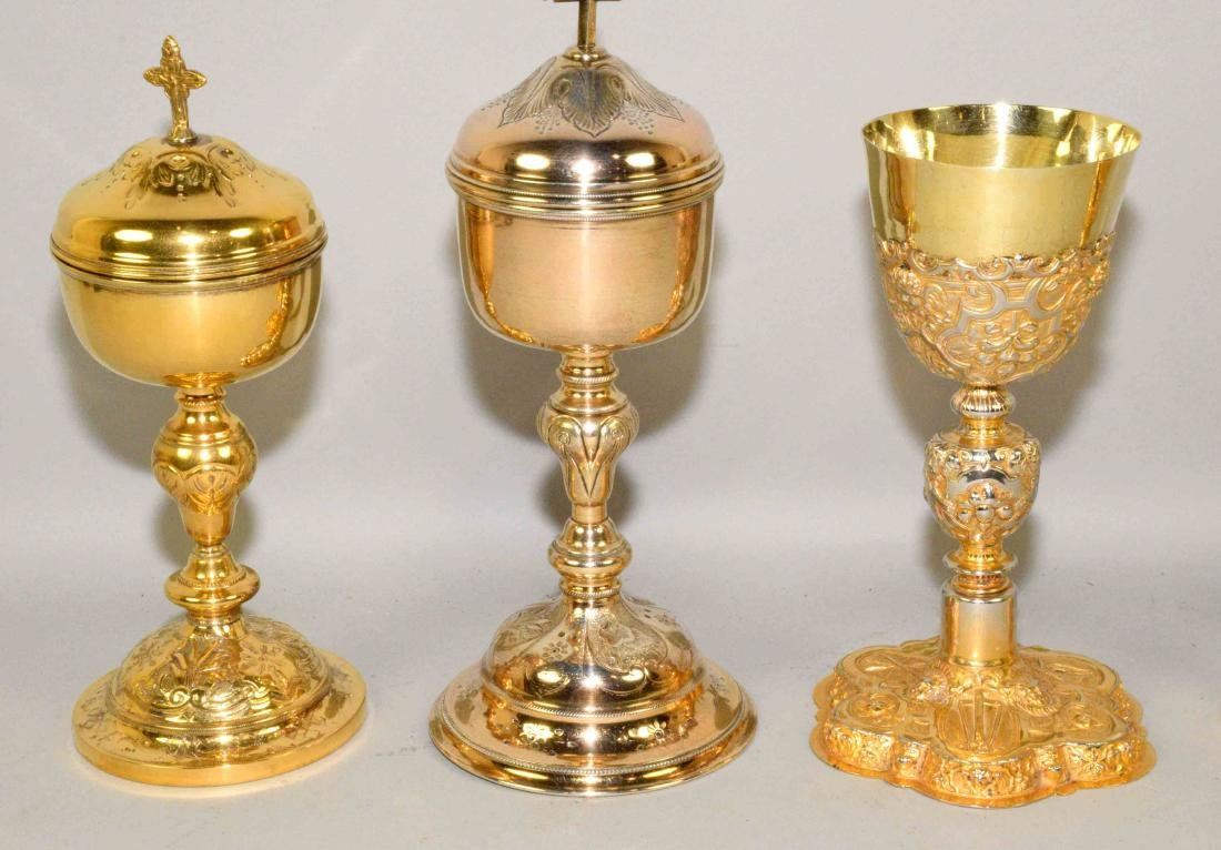 GROUP OF (5) ROMAN CATHOLIC GOLD PLATED CHALICES. - 2