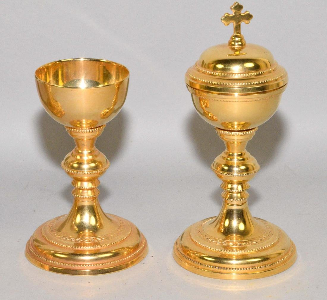 GROUP OF (5) ROMAN CATHOLIC GOLD PLATED CHALICES. - 3