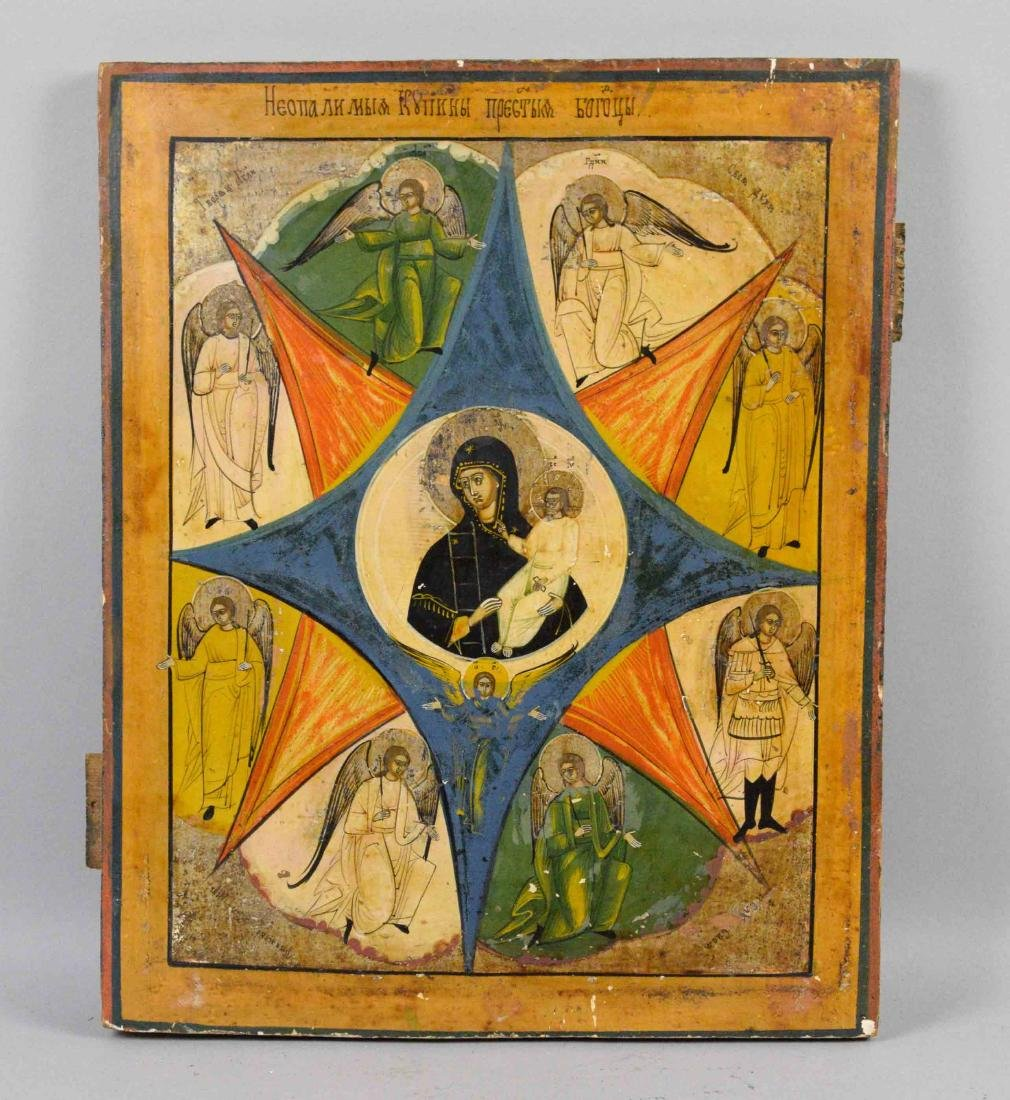 19TH C. RUSSIAN ICON MOTHER OF GOD OF THE BURNING BUSH.