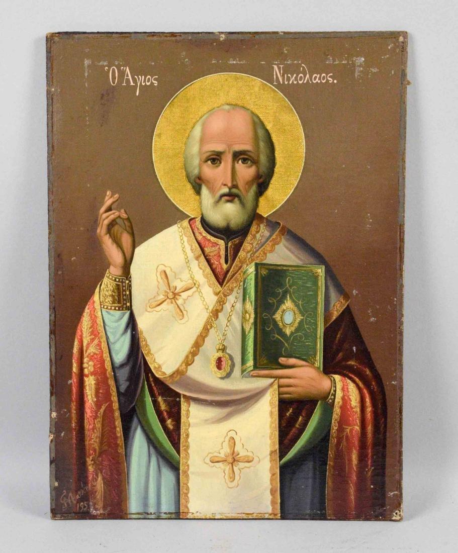 GREEK ICON OF ST. NICHOLAS, comtemporary. 14''H x