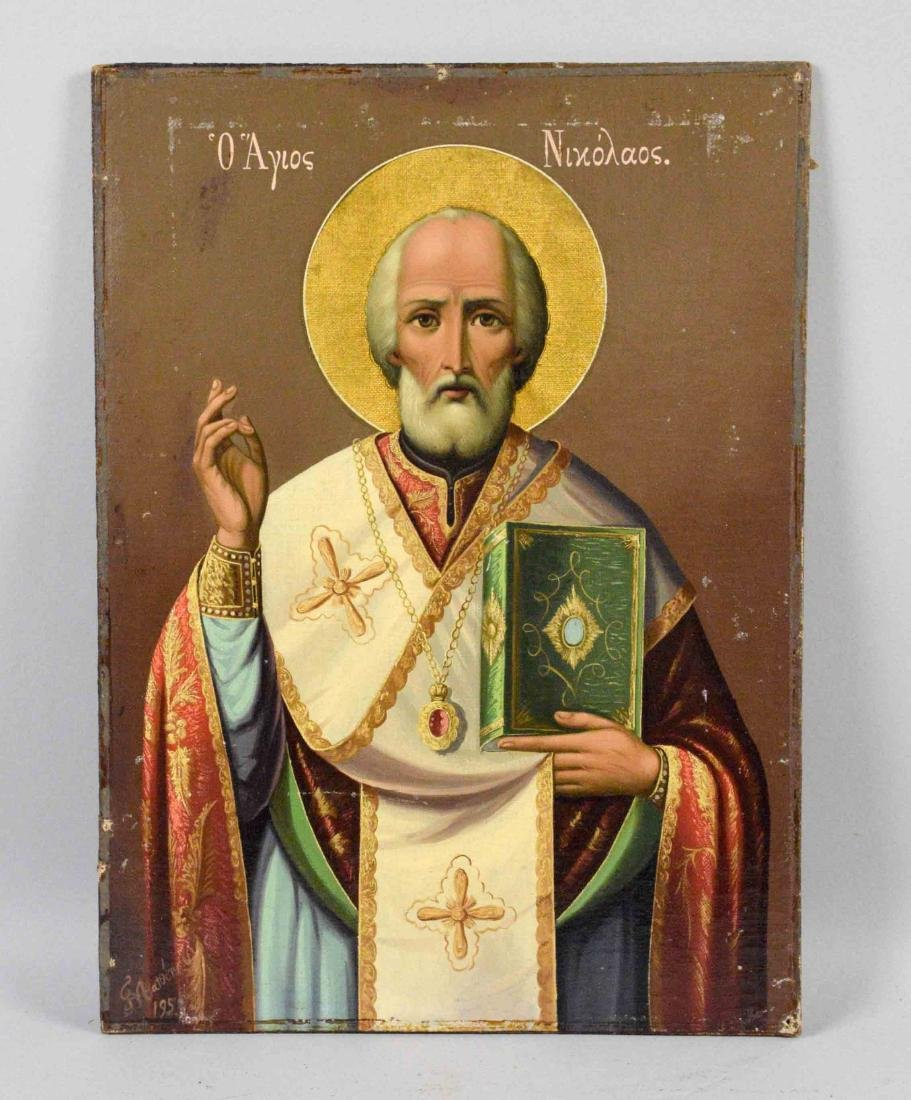 GREEK ICON OF ST. NICHOLAS, comtemporary. 14''H x