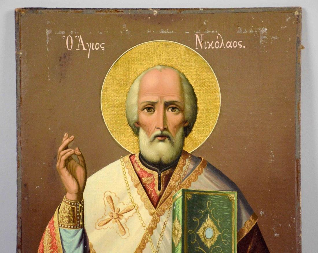 GREEK ICON OF ST. NICHOLAS, comtemporary. 14''H x - 2