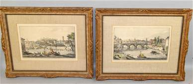 PAIR OF ITALIAN HAND COLORED ETCHINGS by Piranesi