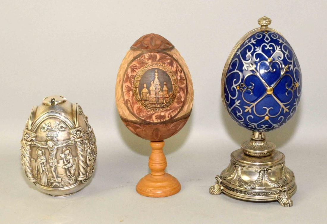 (3) RUSSIAN-STYLE EGGS. One is wood carved with St.