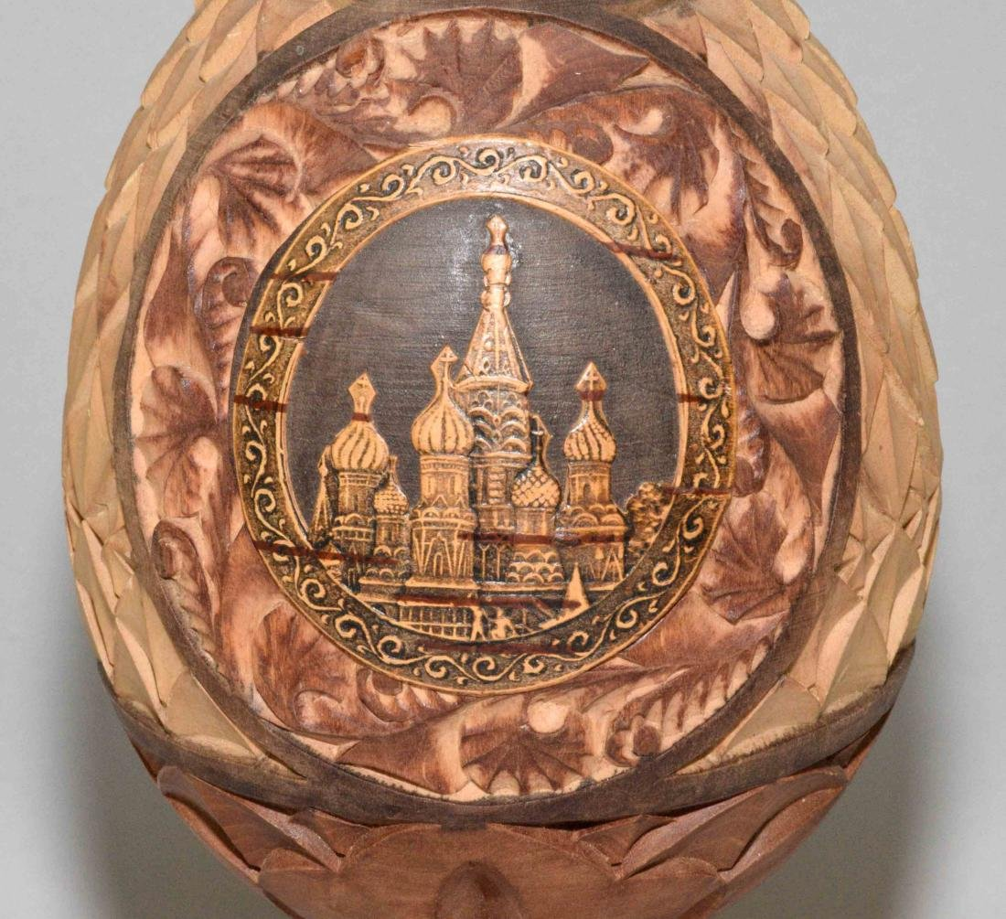 (3) RUSSIAN-STYLE EGGS. One is wood carved with St. - 5