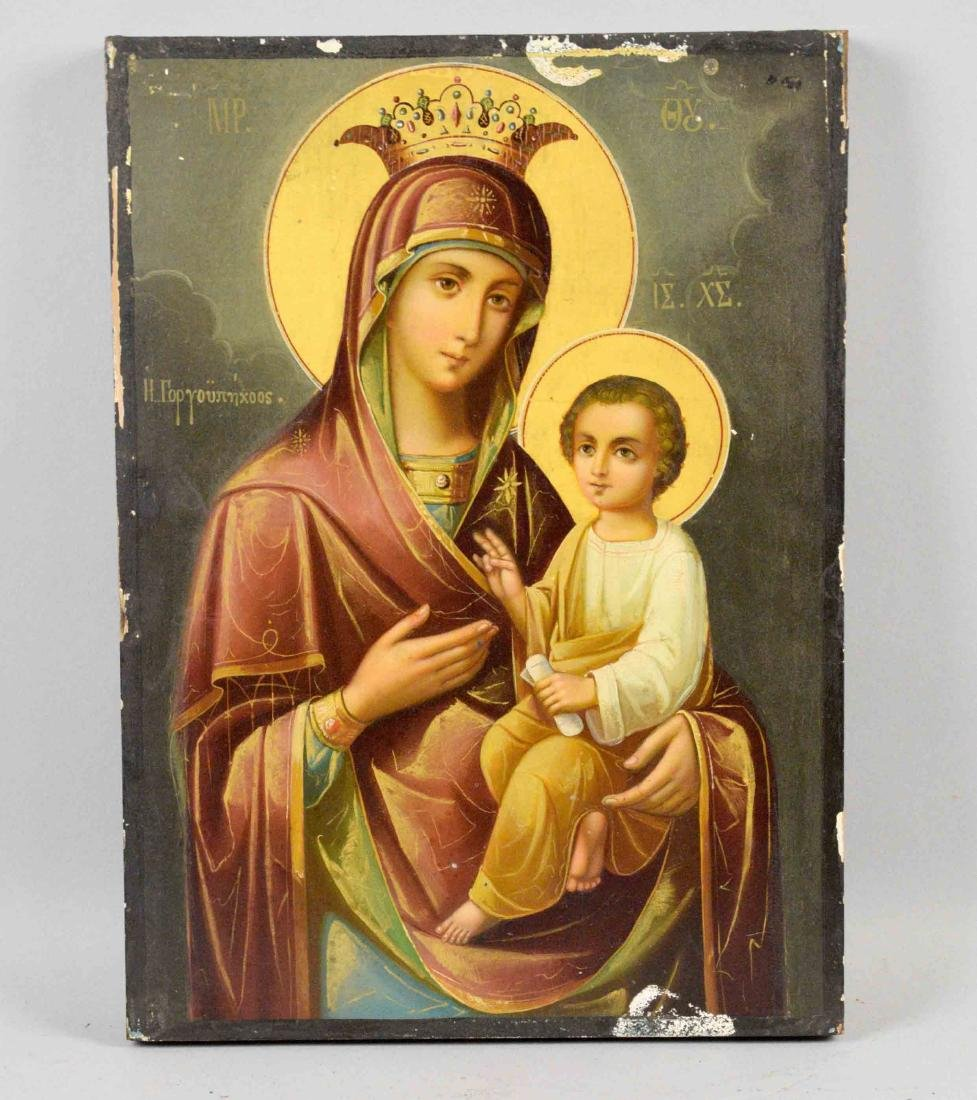 19TH C. GREEK ICON MOTHER OF GOD. 12.50''H x 9''W.