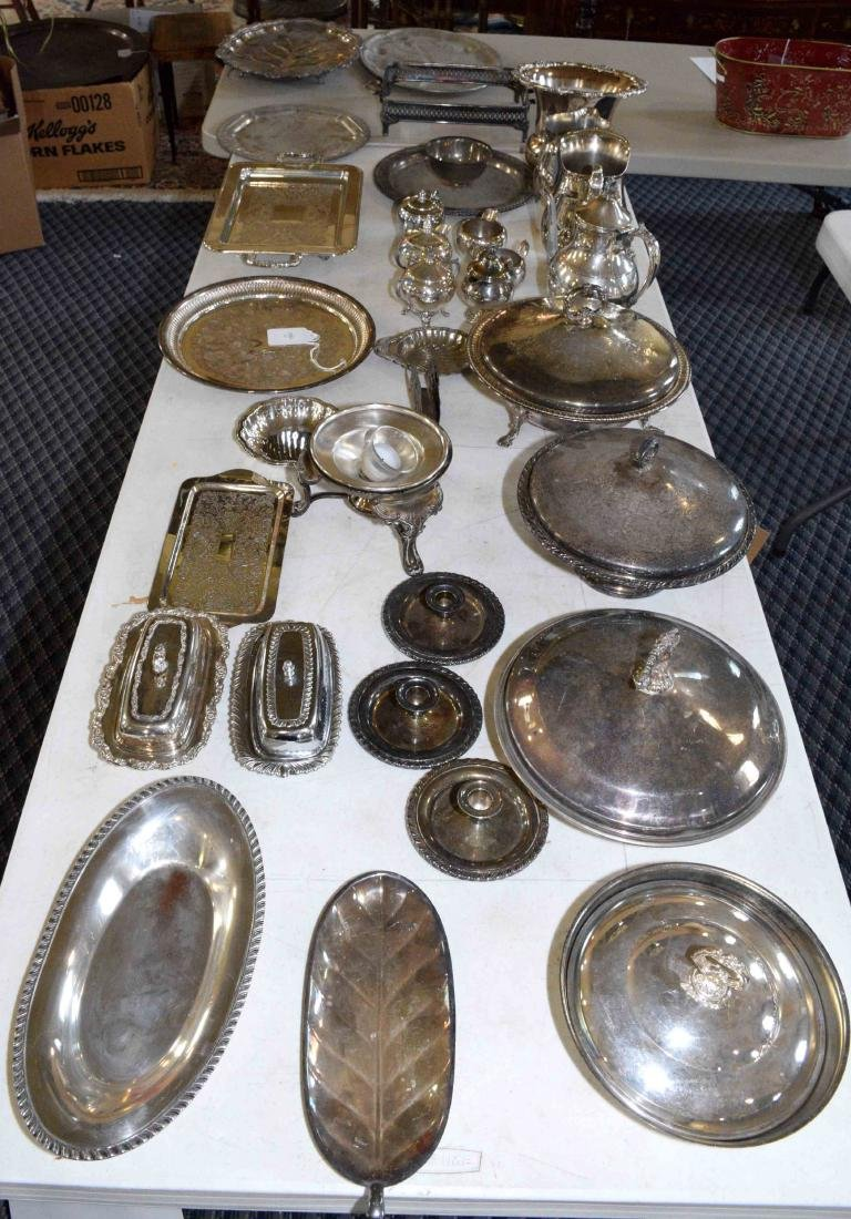 LARGE ASSORTMENT OF SILVERPLATE including platter,