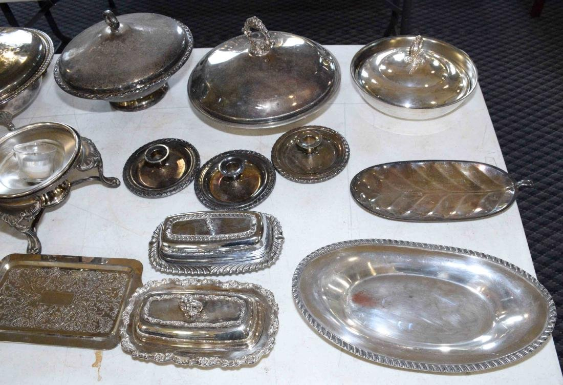 LARGE ASSORTMENT OF SILVERPLATE including platter, - 2