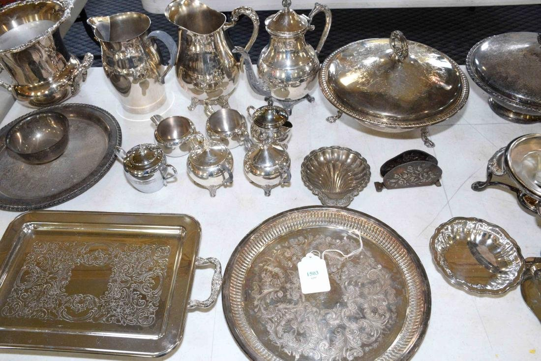 LARGE ASSORTMENT OF SILVERPLATE including platter, - 4