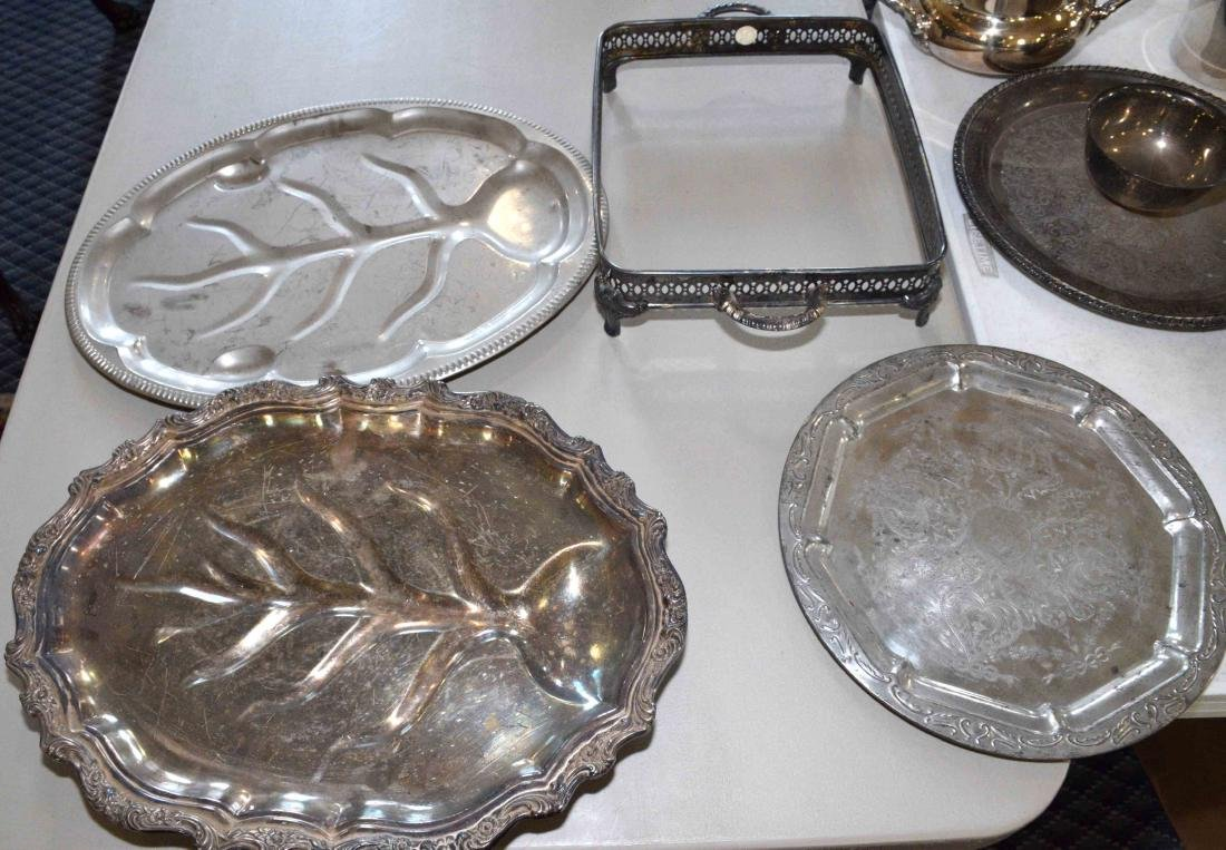 LARGE ASSORTMENT OF SILVERPLATE including platter, - 6