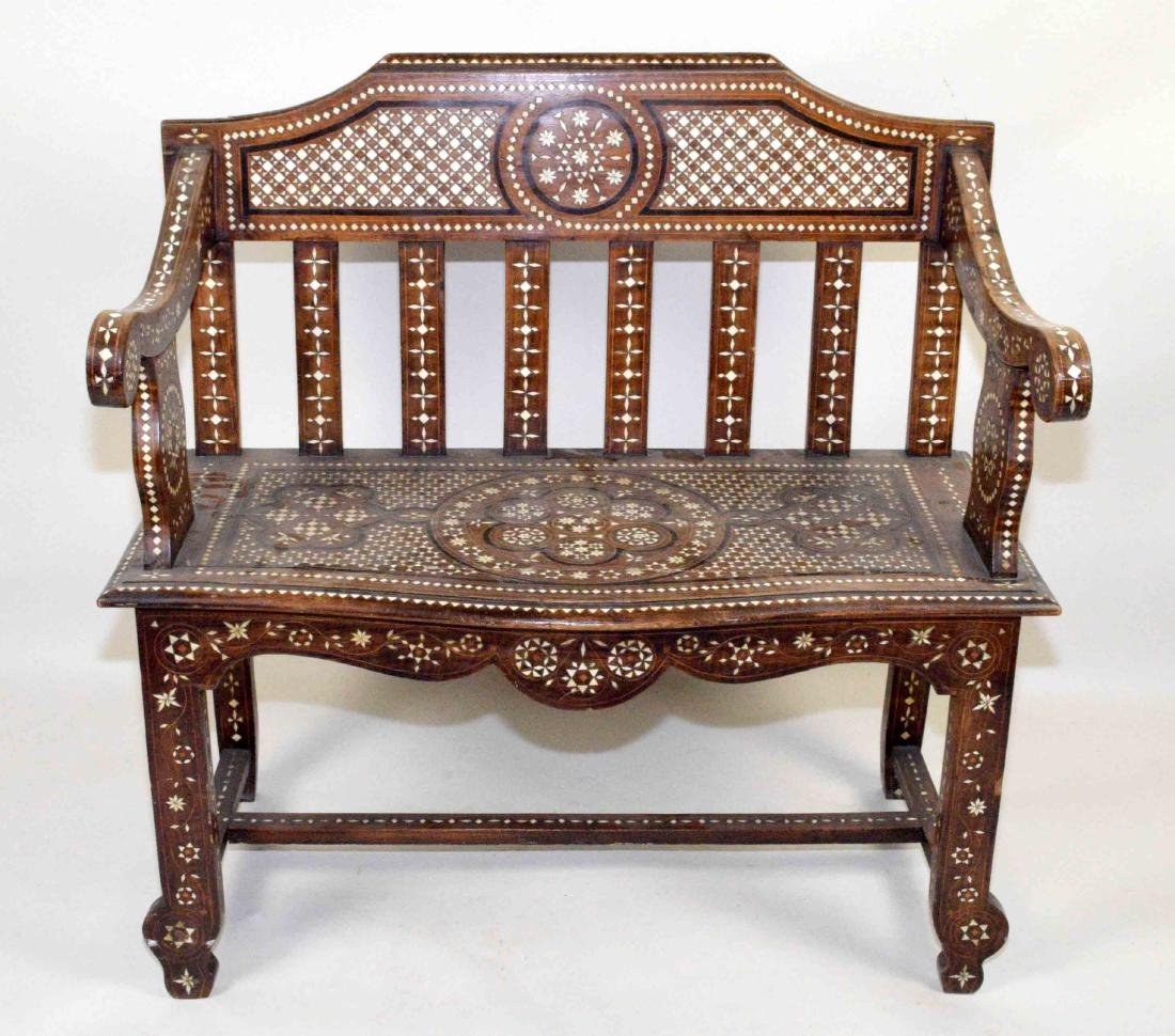 MID-EASTERN BONE INLAID BENCH. Profusely inlaid.