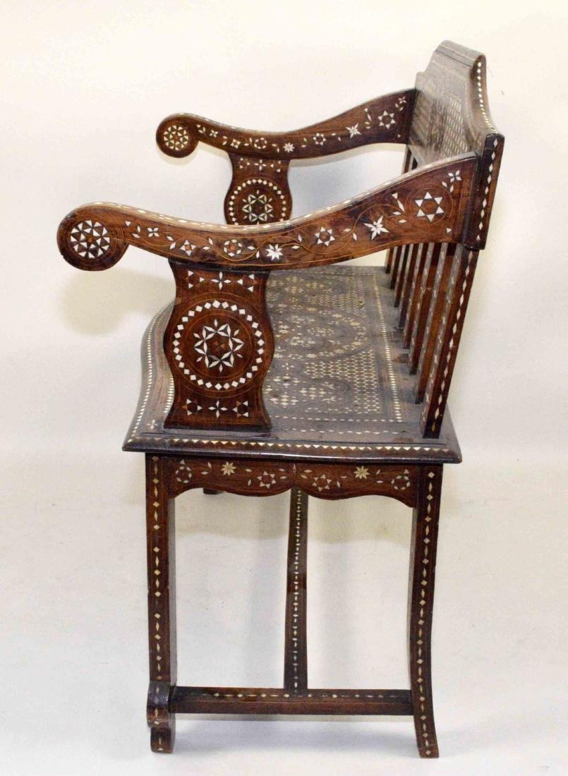 MID-EASTERN BONE INLAID BENCH. Profusely inlaid. - 2