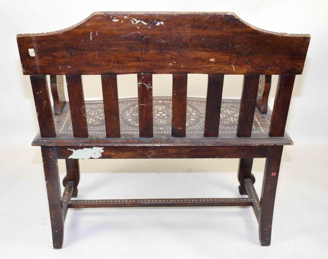 MID-EASTERN BONE INLAID BENCH. Profusely inlaid. - 3