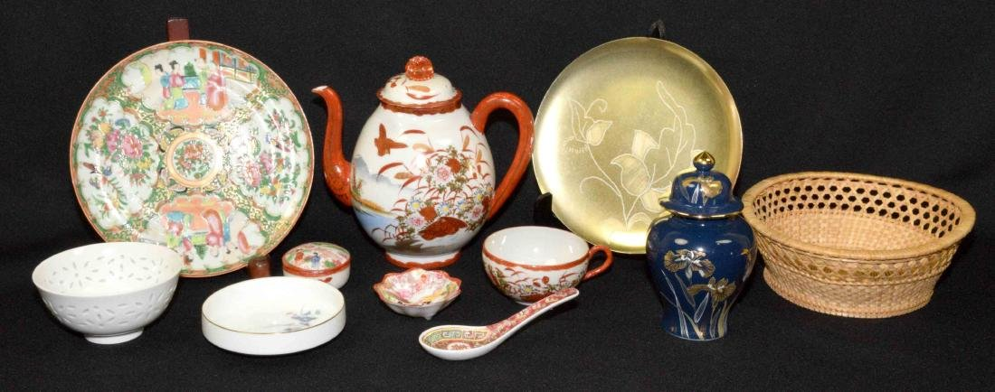 (7 PC.) TRAY LOT OF ASSORTED ASIAN PORCELAIN AND METAL