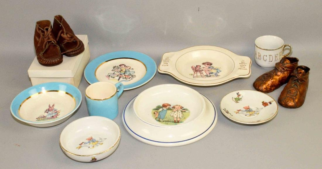 TRAY LOT OF ASSORTED BABY PORCELAIN DISHES AND SHOES.