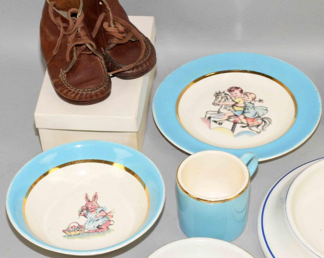 TRAY LOT OF ASSORTED BABY PORCELAIN DISHES AND SHOES. - 2