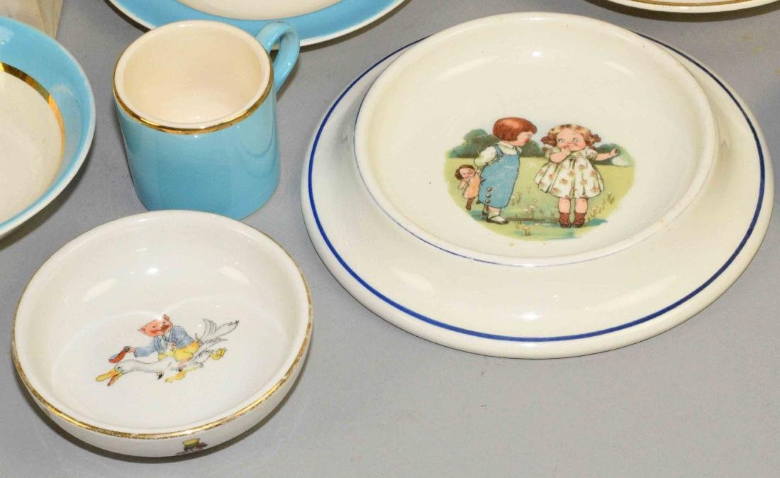TRAY LOT OF ASSORTED BABY PORCELAIN DISHES AND SHOES. - 3
