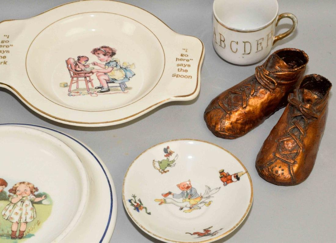TRAY LOT OF ASSORTED BABY PORCELAIN DISHES AND SHOES. - 4
