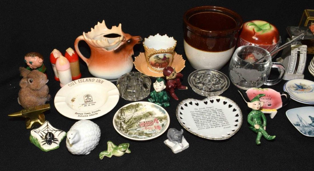 ASSORTED KNICKNACKS. Porcelain, glass, brass, plastic, - 2