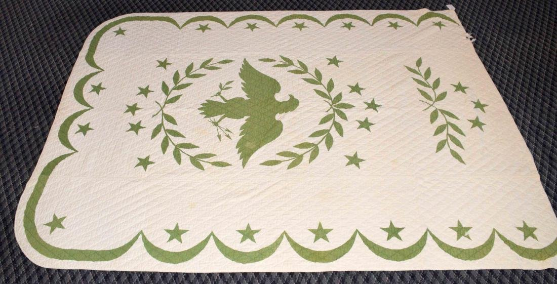 AMERICAN EAGLE QUILT. 8'6''H x 5'7''W. Condition: some