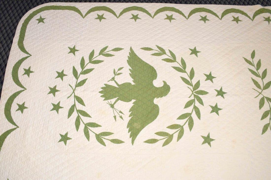 AMERICAN EAGLE QUILT. 8'6''H x 5'7''W. Condition: some - 2