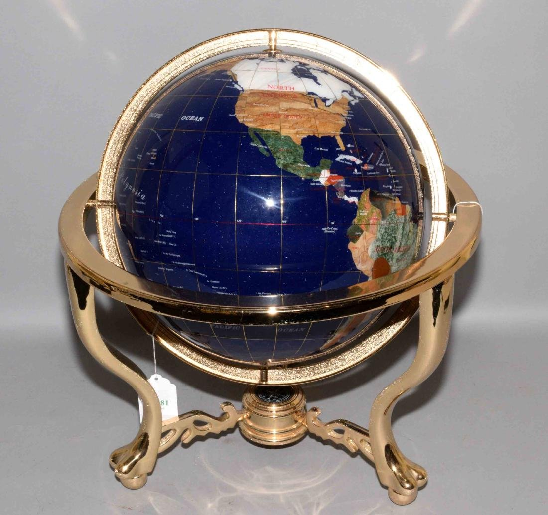 GLOBE MADE OF COLORFUL HARDSTONE ON BRASS BASE, with