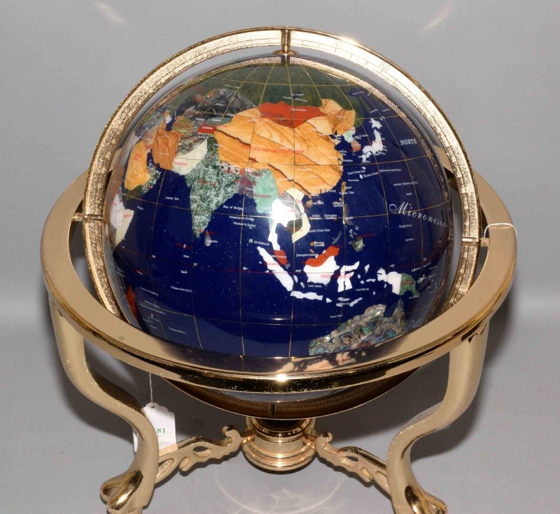 GLOBE MADE OF COLORFUL HARDSTONE ON BRASS BASE, with - 2