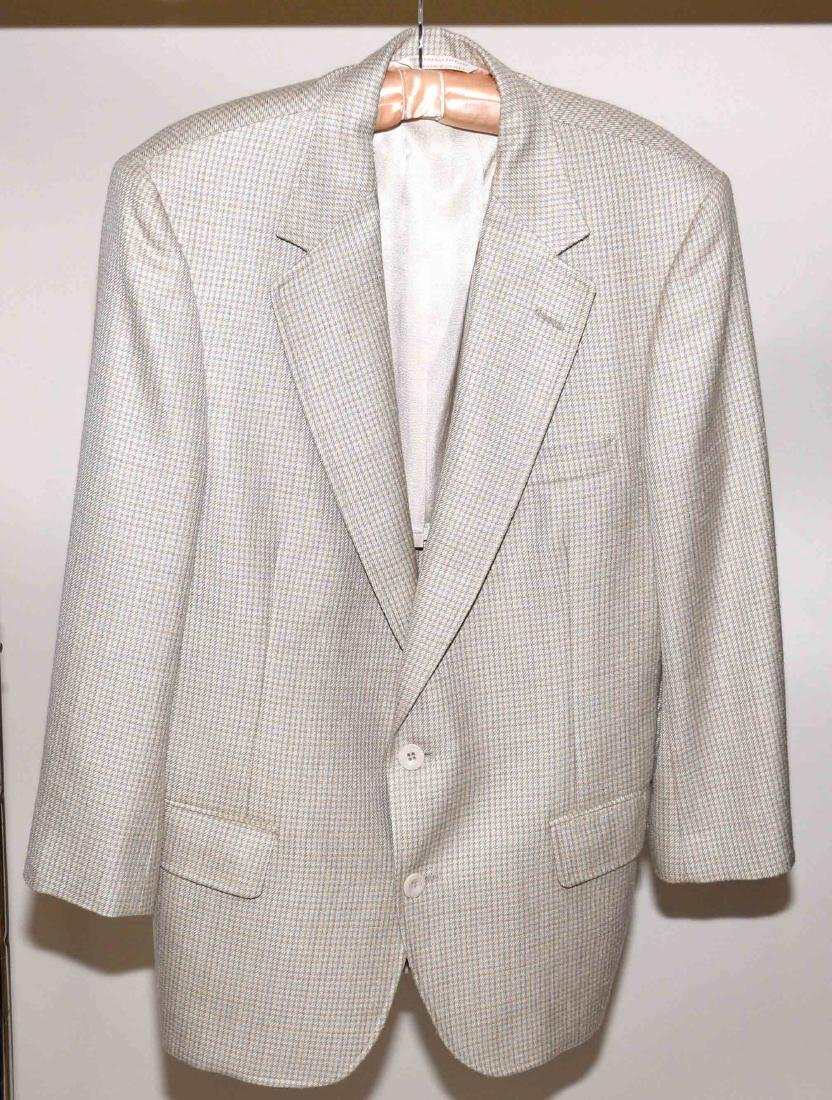 JOHNNY CARSON TAILORED TAN PLAID SUIT COAT, previously