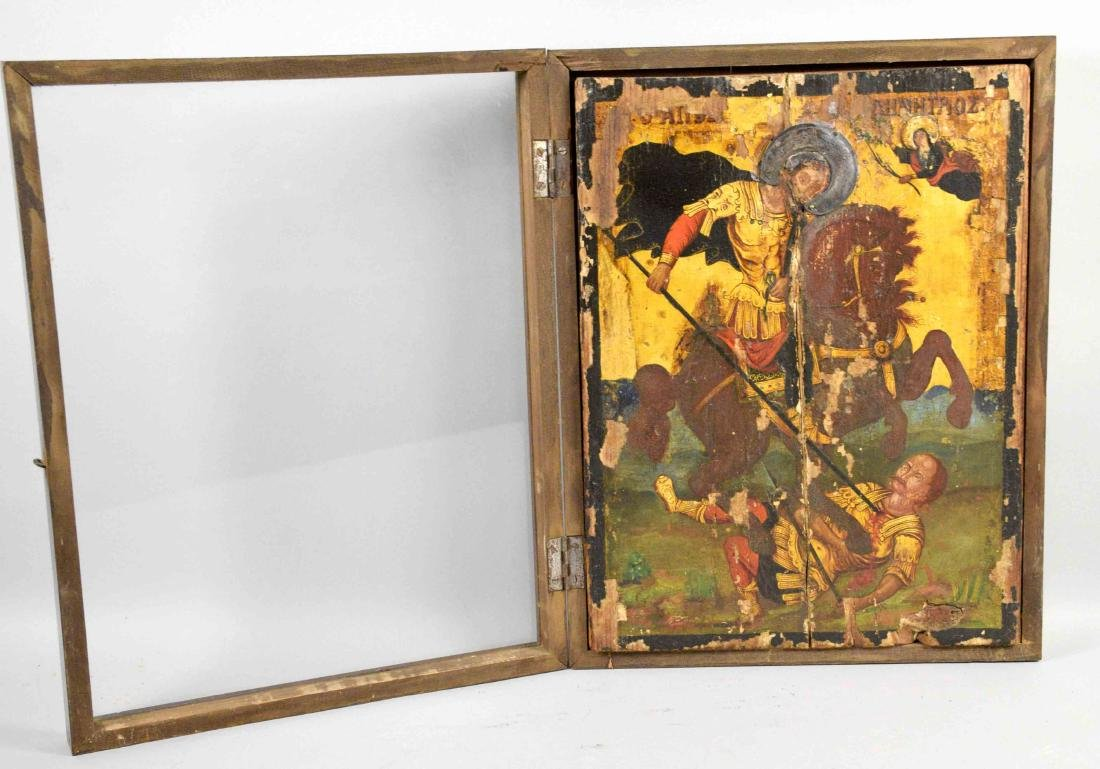 GREEK ICON OF ST. DEMITRIAS 19TH C. Framed under glass