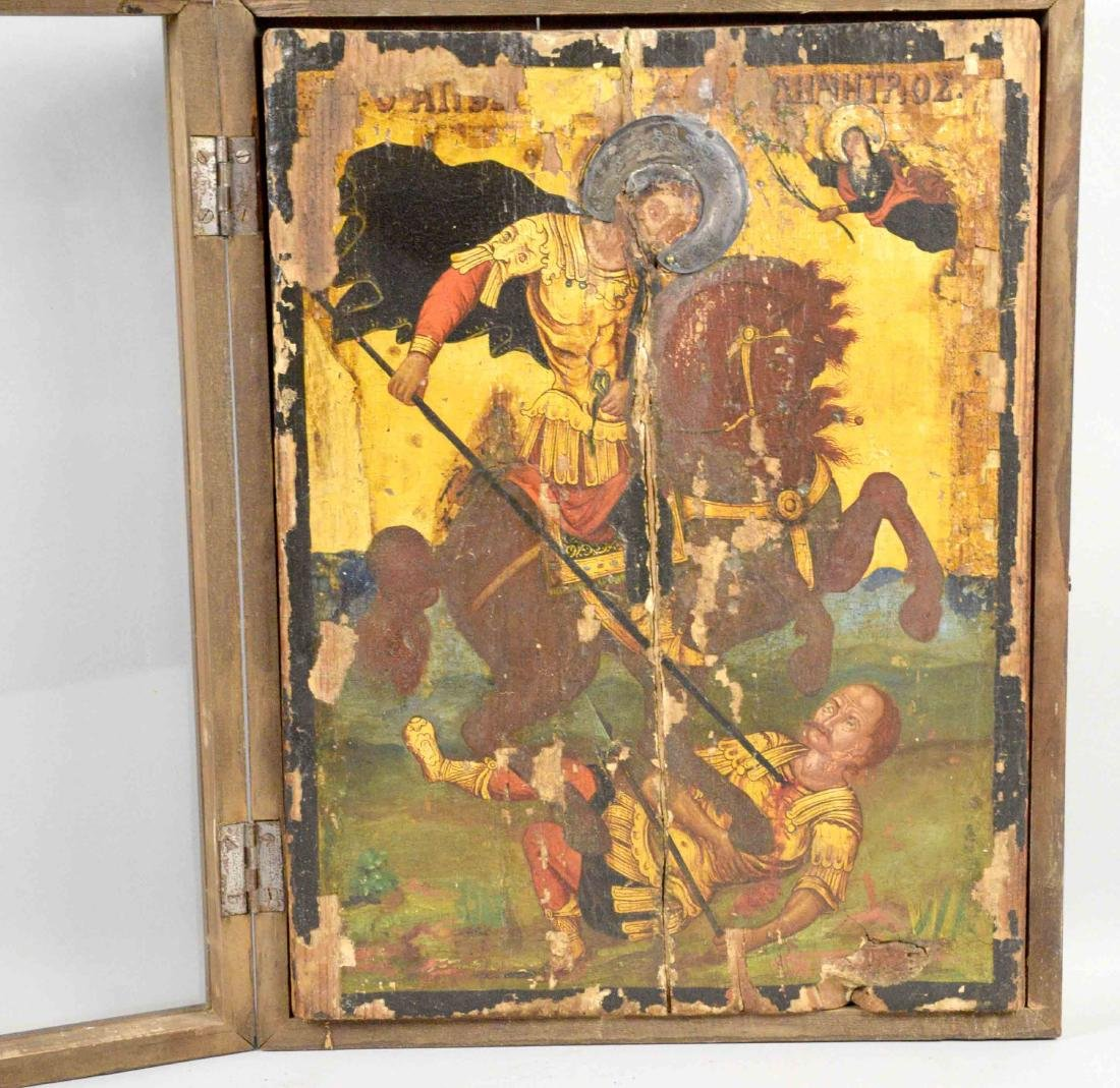 GREEK ICON OF ST. DEMITRIAS 19TH C. Framed under glass - 2