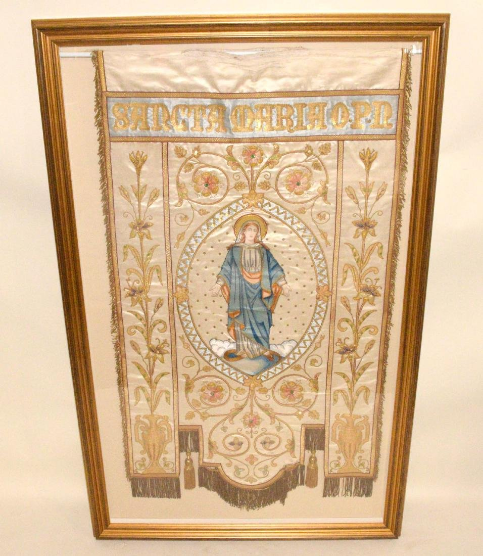 19TH C. FRENCH EMBROIDERED SILK RELIGIOUS PROCESSIONAL