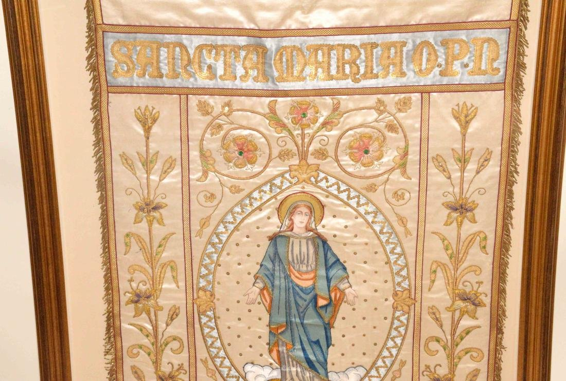 19TH C. FRENCH EMBROIDERED SILK RELIGIOUS PROCESSIONAL - 2