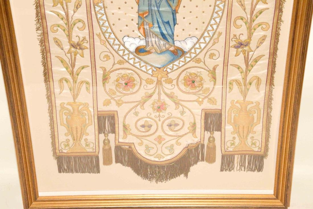 19TH C. FRENCH EMBROIDERED SILK RELIGIOUS PROCESSIONAL - 3