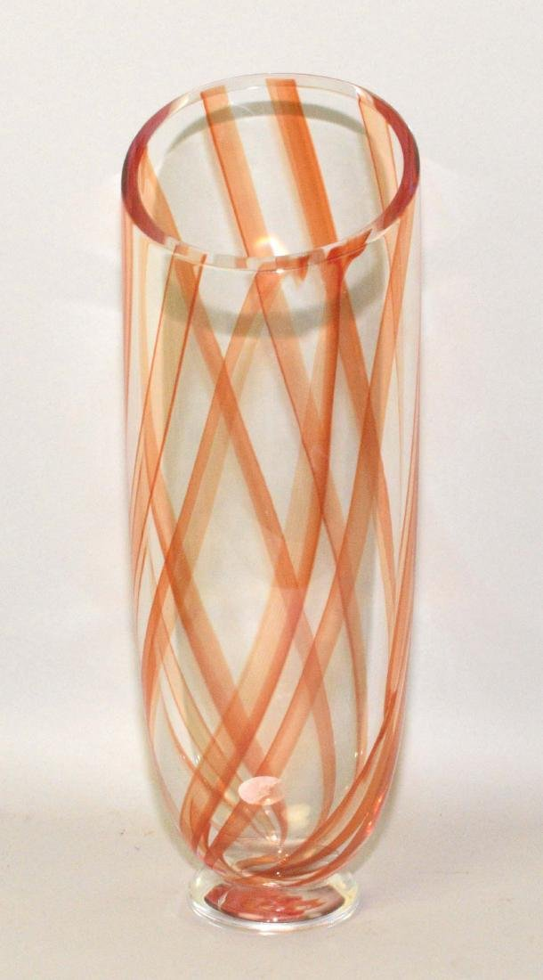 MURANO ART GLASS VASE. 14''H x 5'' diameter, signed