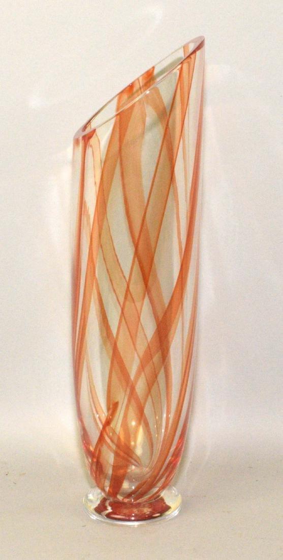 MURANO ART GLASS VASE. 14''H x 5'' diameter, signed - 2