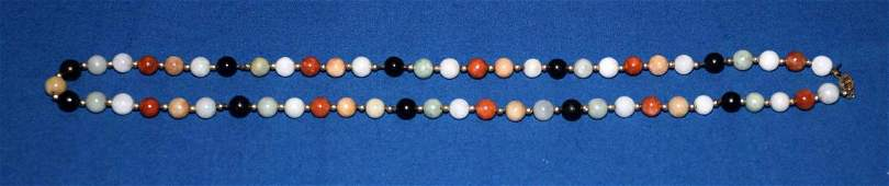 ANTIQUE JADE AND 14K GOLD MULTI-COLORED BEADED
