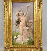 KPM PLAQUE DEPICTING A NUDE LADY WITH BIRDS. On verso