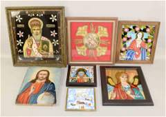 7 MISC ICONS 3 reverse painted glass religious