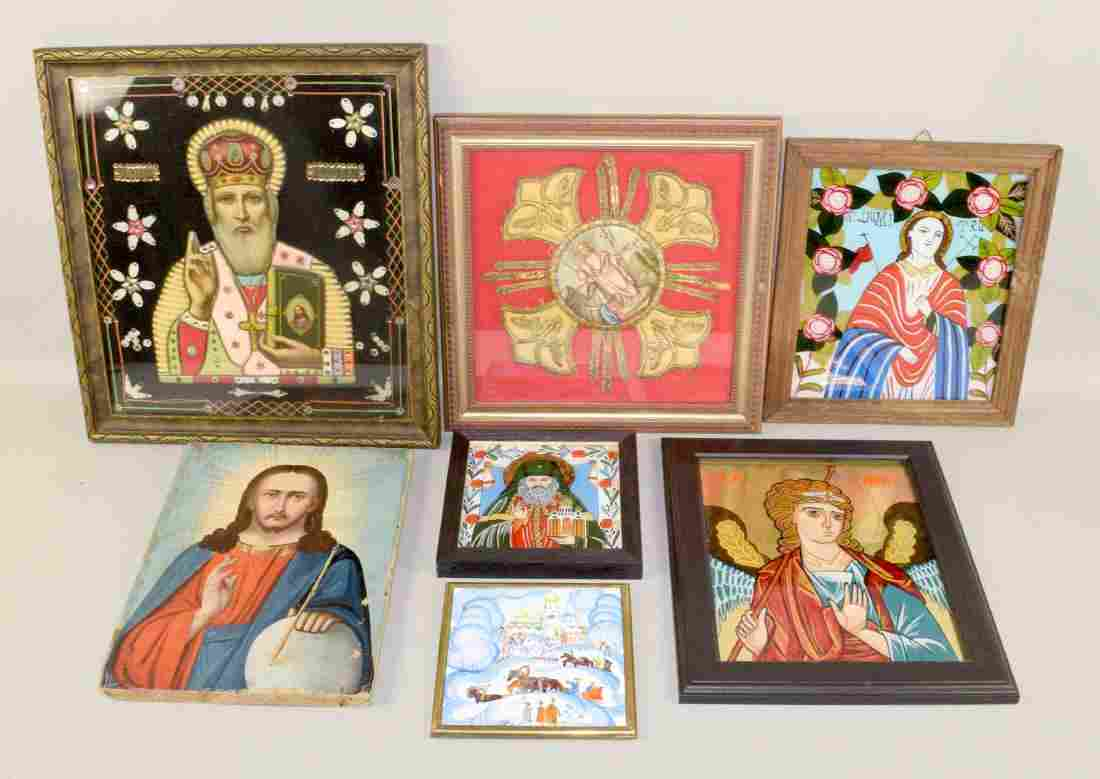 (7) MISC. ICONS: (3) reverse painted glass religious