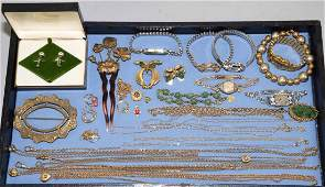 OVER 20 MISC LADIES GOLD FILLED COSTUME JEWELRY LOT