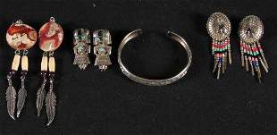 STERLING INDIAN JEWELRY. The lot includes three p
