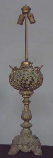 ELECTRIFIED OIL LAMP. Electrified oil lamp base,