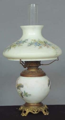 MILK GLASS & BRASS LAMP. Brass oil lamp lamp base
