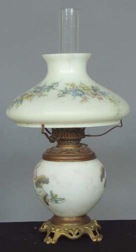 1013: MILK GLASS & BRASS LAMP. Brass oil lamp lamp base