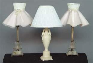 3 BOUDOIR LAMPS. (1) Aladdin molded pink glass ba