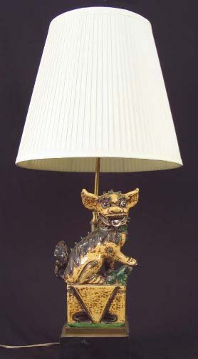 1017: FOO DOG LAMP. Chinese ceramic foo dog mounted on
